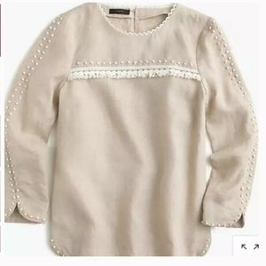 J. Crew Embroidered Linen Long Sleeve Blouse F0825